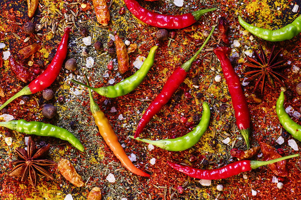 Spices and spicy chili peppers